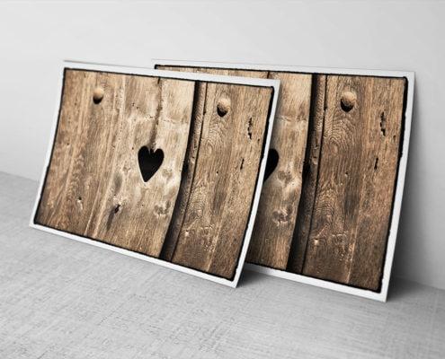Zonder woorden - houten deur met hartje