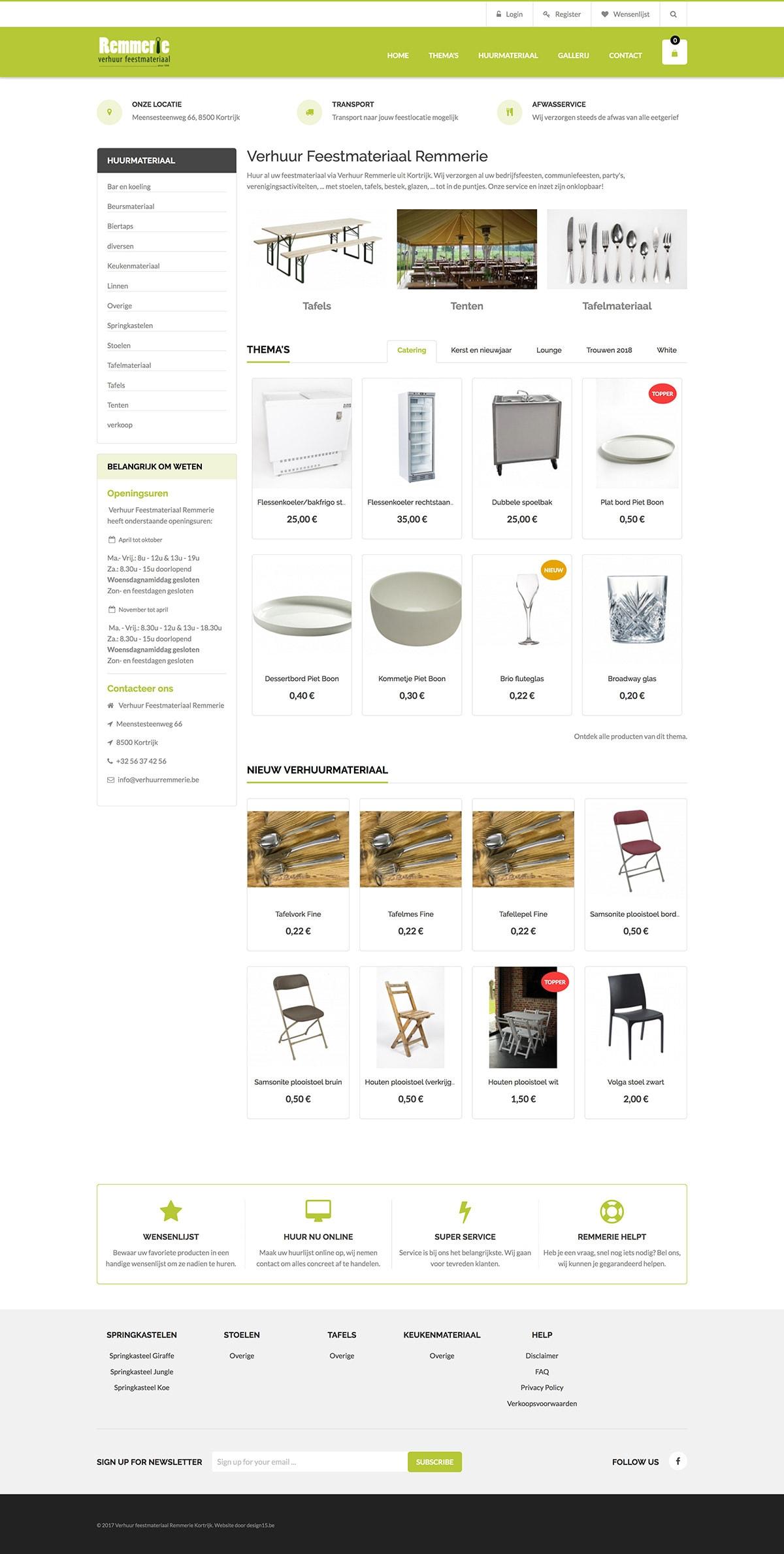 Drupal Webshop Verhuur Feestmateriaal Remmerie
