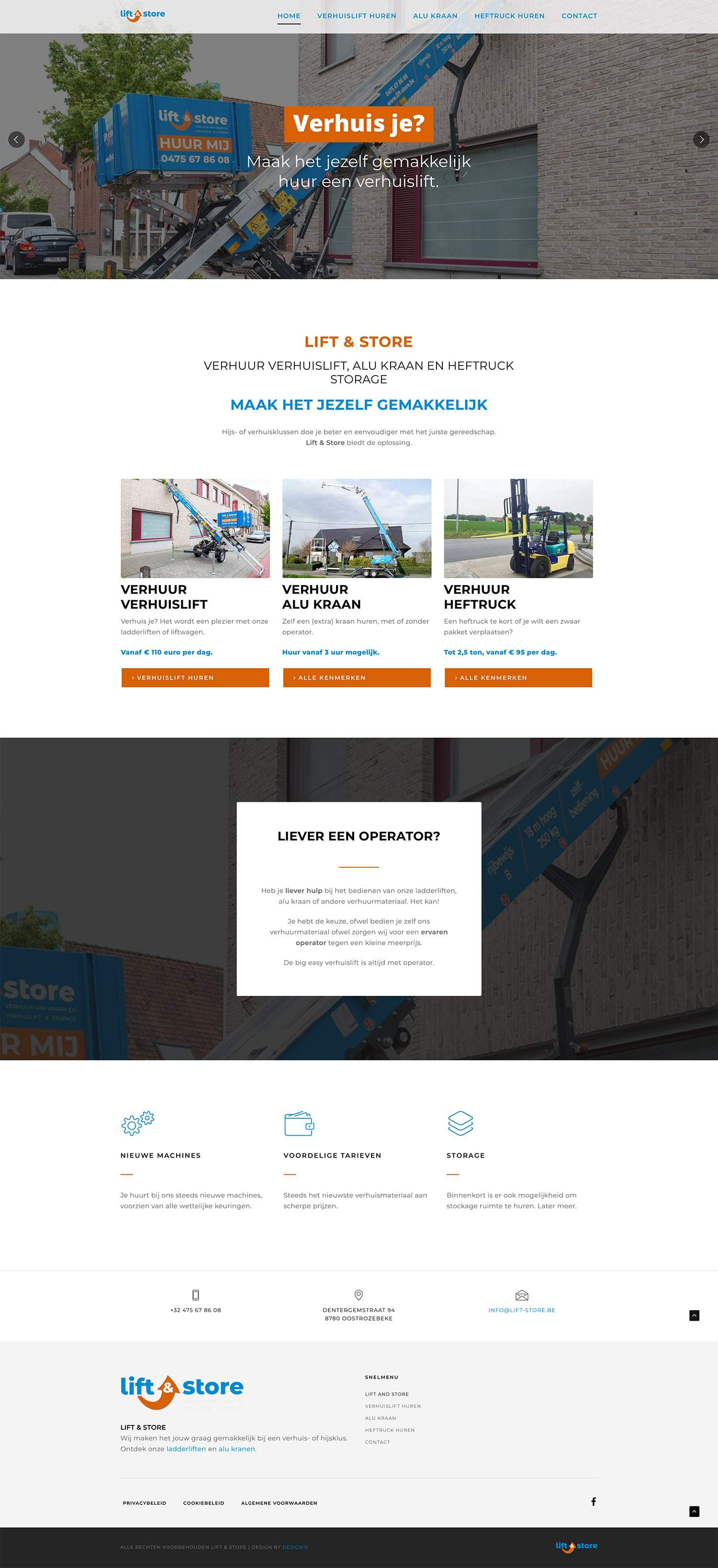 Lift & Store volledige webpagina